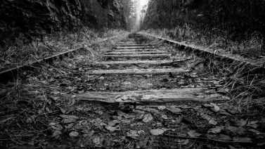 black and white perspective railroad railway
