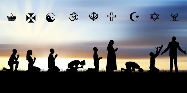 varied religious people praying
